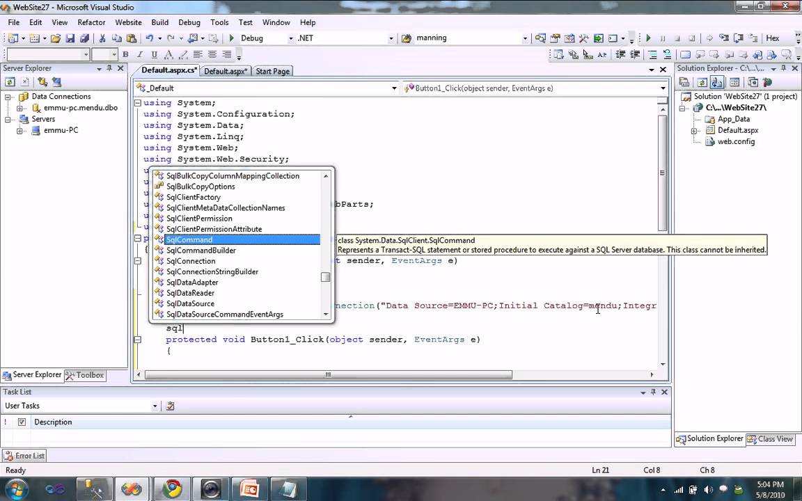 C# mysql example command. Executereader throws exception stack.