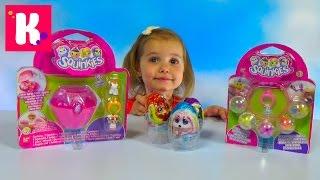 Лапусики сюрприз и наборы Сквинкис с игрушками в шариках распаковка Squinkies toys set unboxing