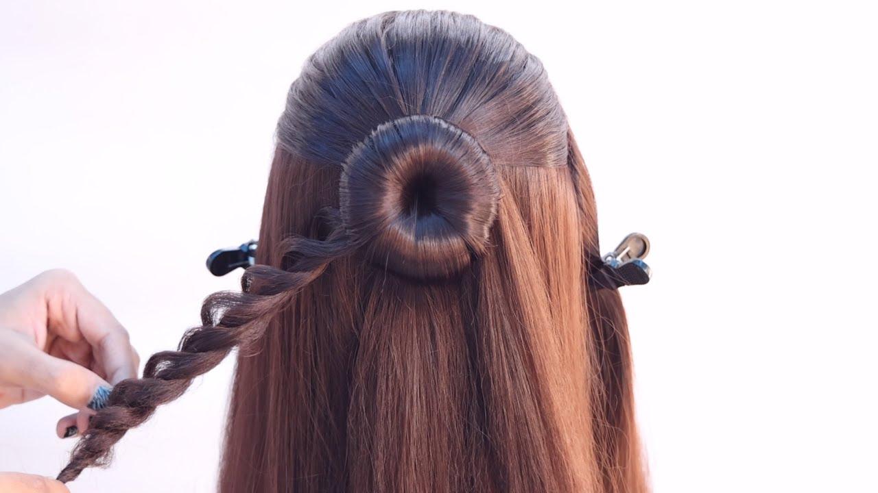 2 pretty open hairstyle for lehenga   wedding hairstyle   front waterfall hairstyle   new hairstyle