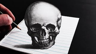 How to Draw a Skull 3D Optical Illusion