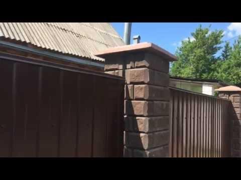 Забор из профлиста и блоков катрина