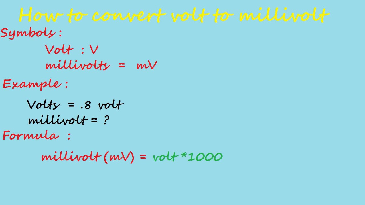 how to convert volt to milivolt electrical calculation