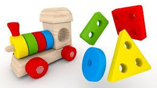Pociąg dla dzieci 3D z drewna - Kształty i kolory dla dzieci   CzyWieszJak