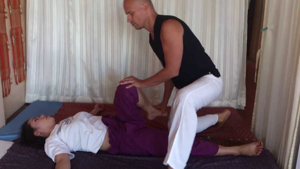 Thai Massage, video of real massage session. Hip joint 1