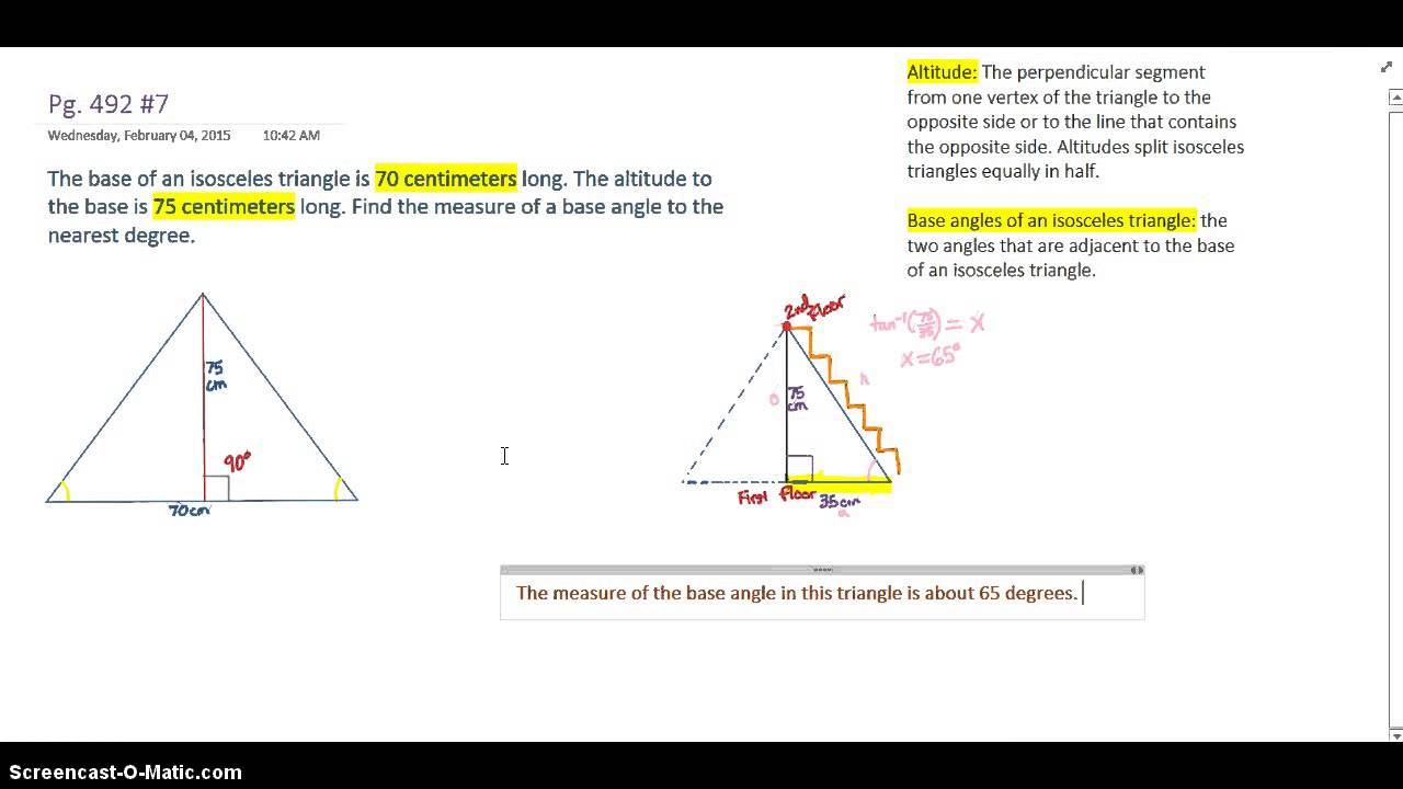 triangle and cm A right triangle can also be an isosceles triangle--which means that it has two sides that are equal a right and a hypotenuse of 13 cm.