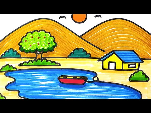 How To Draw Lake Landscape Scenery Drawing Easily For Kids & Beginners   Step By Step