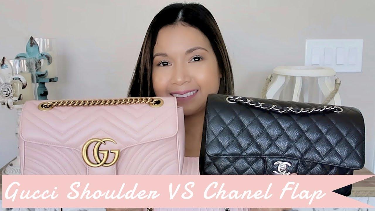 5b9e4658ecd Gucci Marmont Shoulder Bag vs Chanel Medium Large Classic Flap ...