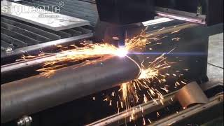 CNC plasma cutter with rotary device for plasma cutting metal tubes