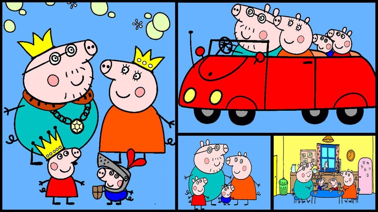 Свинка Пеппа раскраска онлайн семья Peppa pig coloring ...