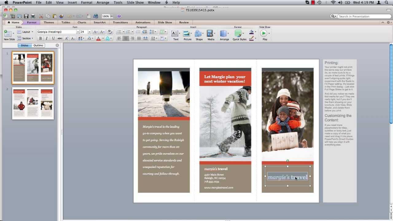 how to make brochure on mac