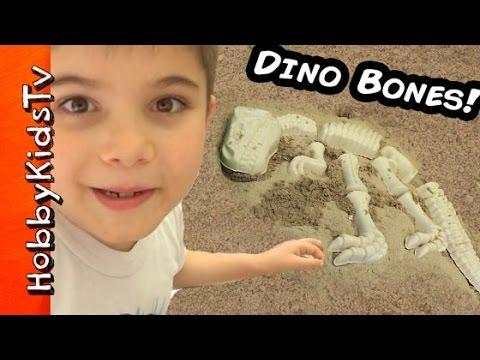 Digging Up Surprise DINOSAUR BONES and Toys in a Jurassic Sandbox with HobbyKidsTV