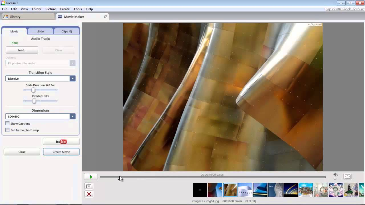 how to create a slideshow in picasa