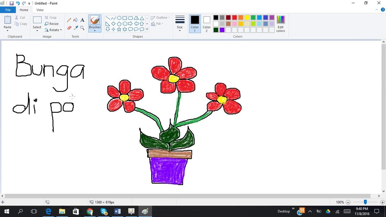 Menggambar Bunga Di Pot Youtube