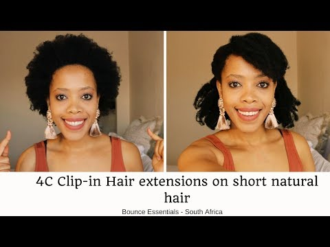 How to install Afro Clip-in Extensions on Short 4C Natural Hair South African Tutorial (720 or 1080)