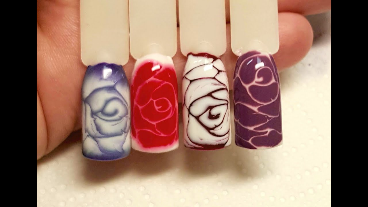 Nail art gel wet on wet rose youtube prinsesfo Image collections