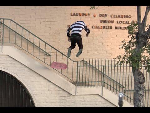 Skateboarder Almost Impaled on Spike Fence