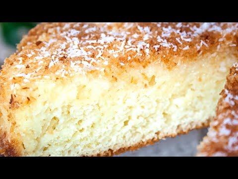 Кокосовый пирог со сливками, быстрый и очень вкусный! Простой рецепт теста на кефире!