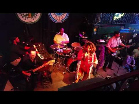 American woman RV at Bourbon Street Blues and Boogie bar in Nashville Tennessee Printers Alley