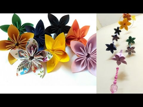 How to Make Wind Chimes with Origami Flowers🌸 | Decoration for Home | DIY Ideas | Idyllic Galleria