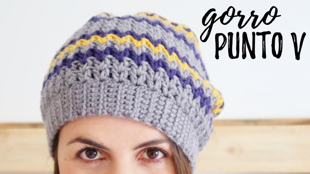 GORRO a crochet en PUNTO V (tipo BOINA CAIDA) | Tutorial paso a paso ...