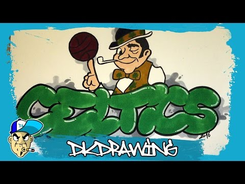 How to draw a boston celtics graffiti (NBA Graffitis)