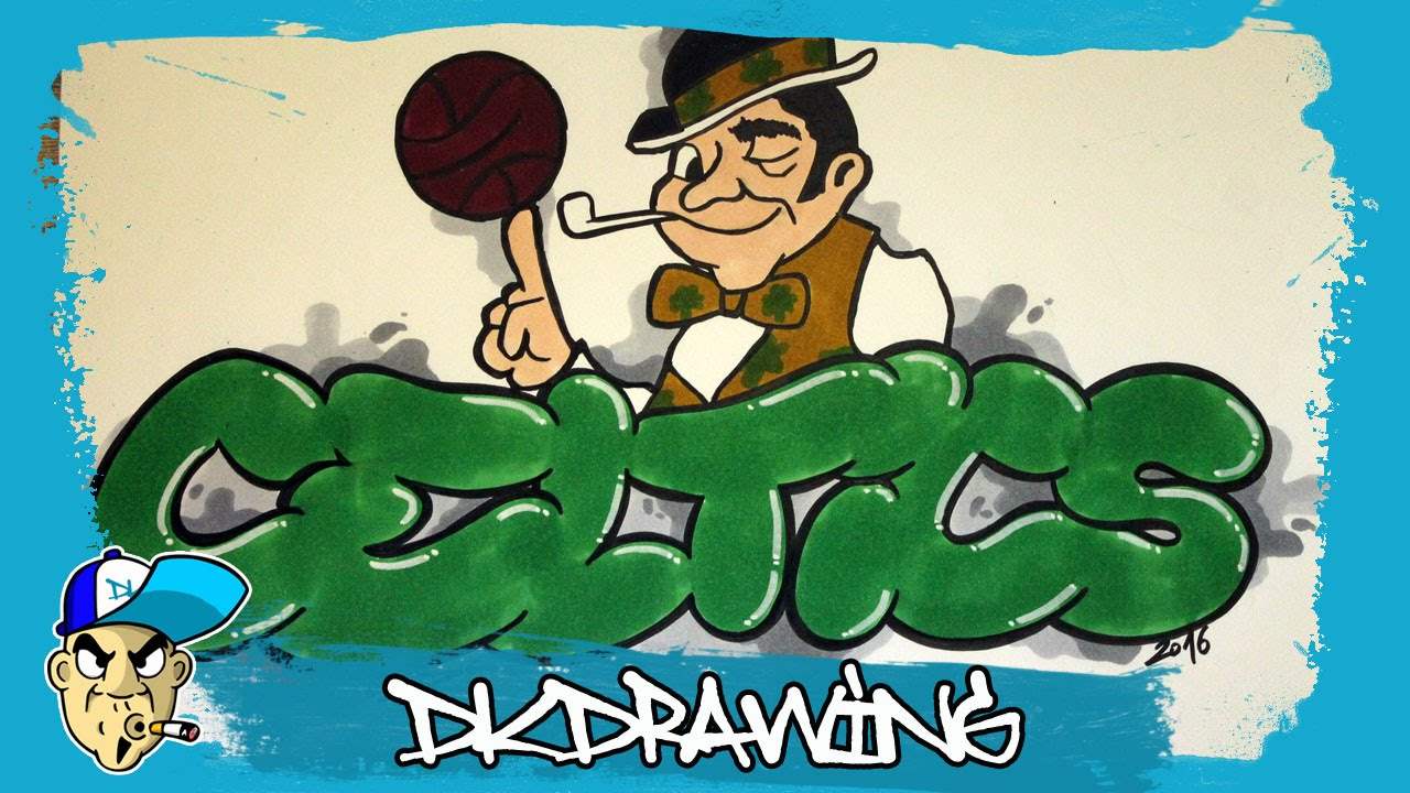 How To Draw A Boston Celtics Graffiti Nba Graffitis Youtube