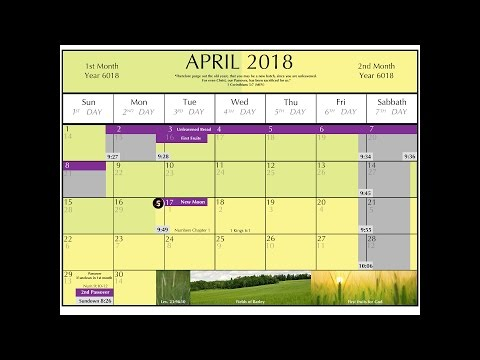 God's Calender 2017 - 2018 (Original Hebrew and Bible calendar)