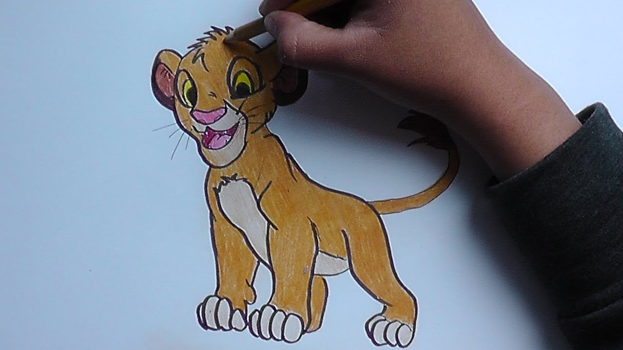 Dibujando y pintando a Simba (Rey Leon) - Drawing and painting Simba ...