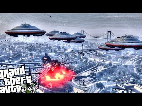 GTA 5 PC - UFO Invasion Attack (Crazy UFO Alien Attack!!) Grand Theft Auto 5 PC UFO Gameplay
