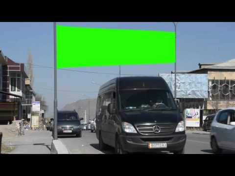 city public street billboard green screen free royalty footage