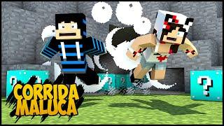 Minecraft - #3 Corrida MALUCA - Abrindo TODOS os Lucky Blocks