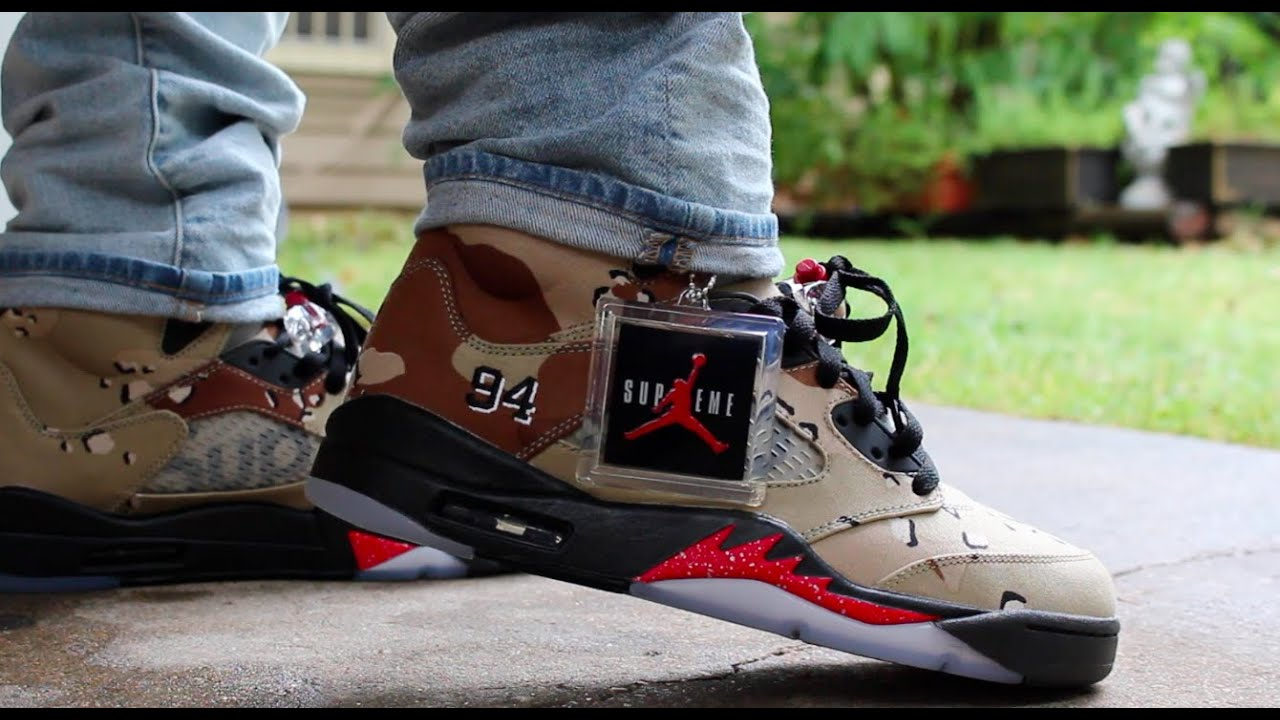 best service c6aaa 1e2dd ... store air jordan 5 supreme desert camo on feet hd youtube 7c555 26299