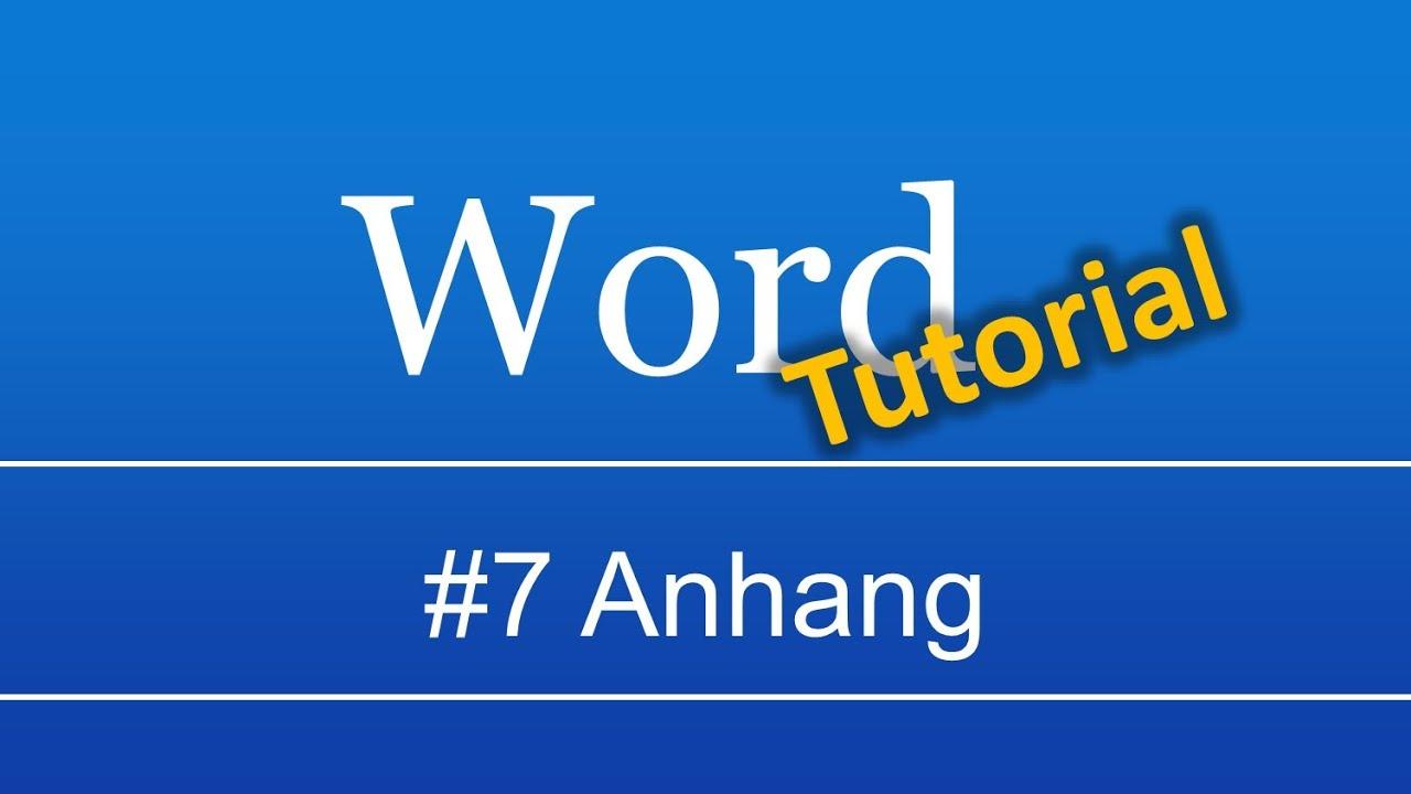 Abschlussarbeit in Word (#7): Anhang - YouTube
