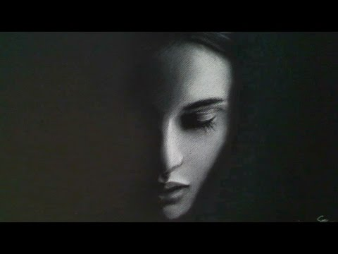 f6d24170a6c White charcoal Drawing - female face - YouTube