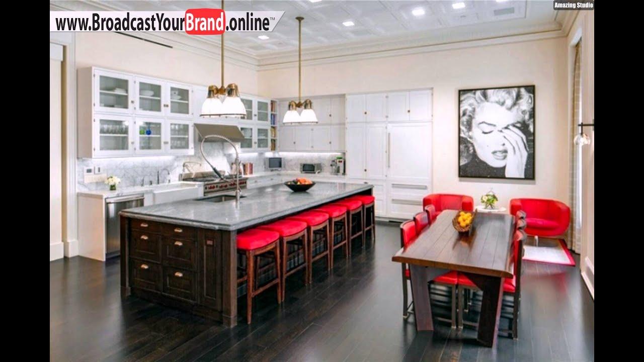 Wohnideen Küche Klassisch Weiße Küchenschränke Rote Stühle - YouTube