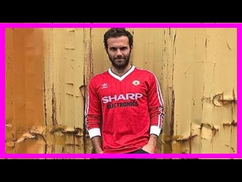 a57c0f229 Juan mata poses in  vintage  manchester united 1982 home jersey by  BuzzFresh News