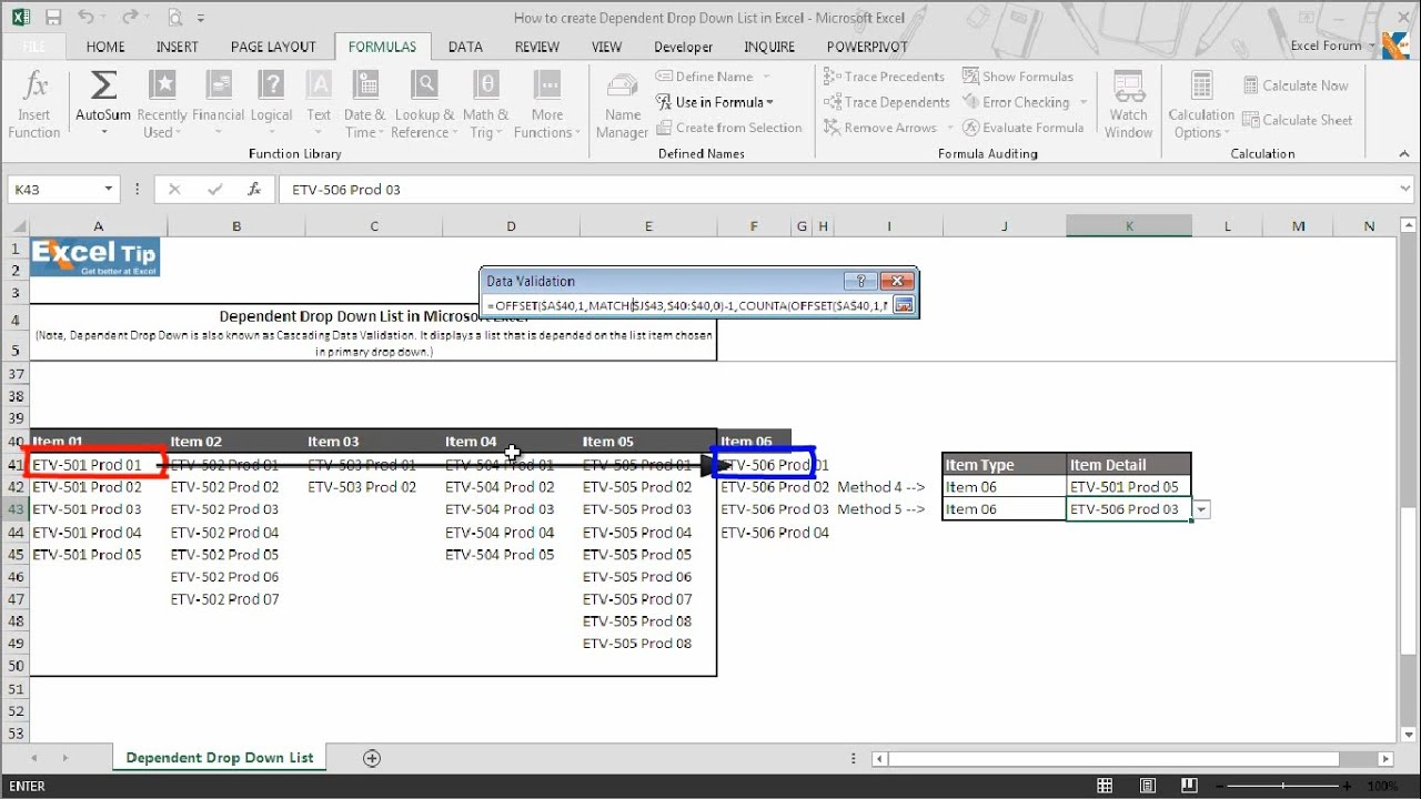 How to Create Dependent (Cascading) Drop Down List in Excel Using 5