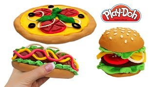 Play Doh Fast Food Compilation. How to Make Hot Dog, Cheeseburger, Pizza Toys Crafts for Kids