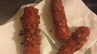 Making hot Cheetos mozzarella sticks