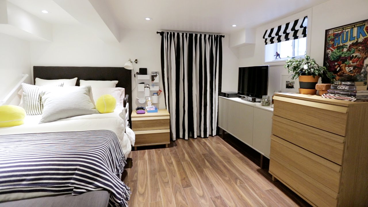 Interior design how to turn your basement into a bright bedroom youtube Putting a master bedroom in the basement