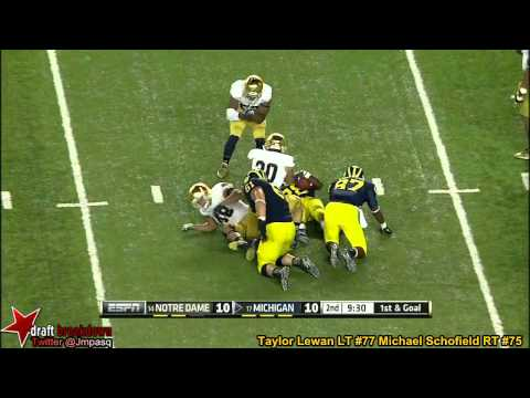 Taylor Lewan and Michael Schofield vs Notre Dame 2013