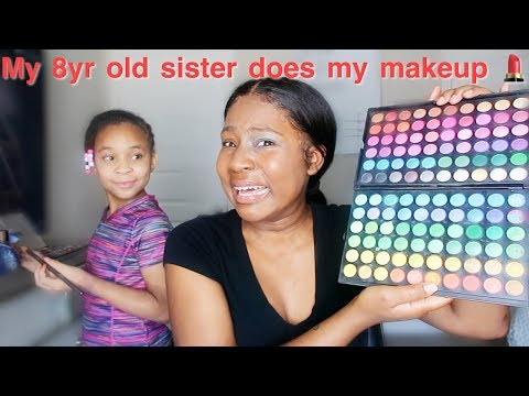 I LET MY 8 YR OLD SISTER DO MY MAKEUP * BAD IDEA ** | IAMJUSTAIRI thumbnail