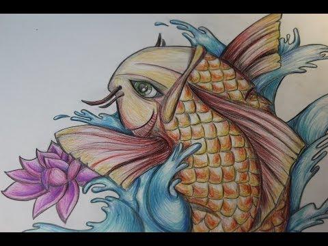 Como dibujar pez koi tattoo draw fish koi by box brush arts for Carpa koi negra