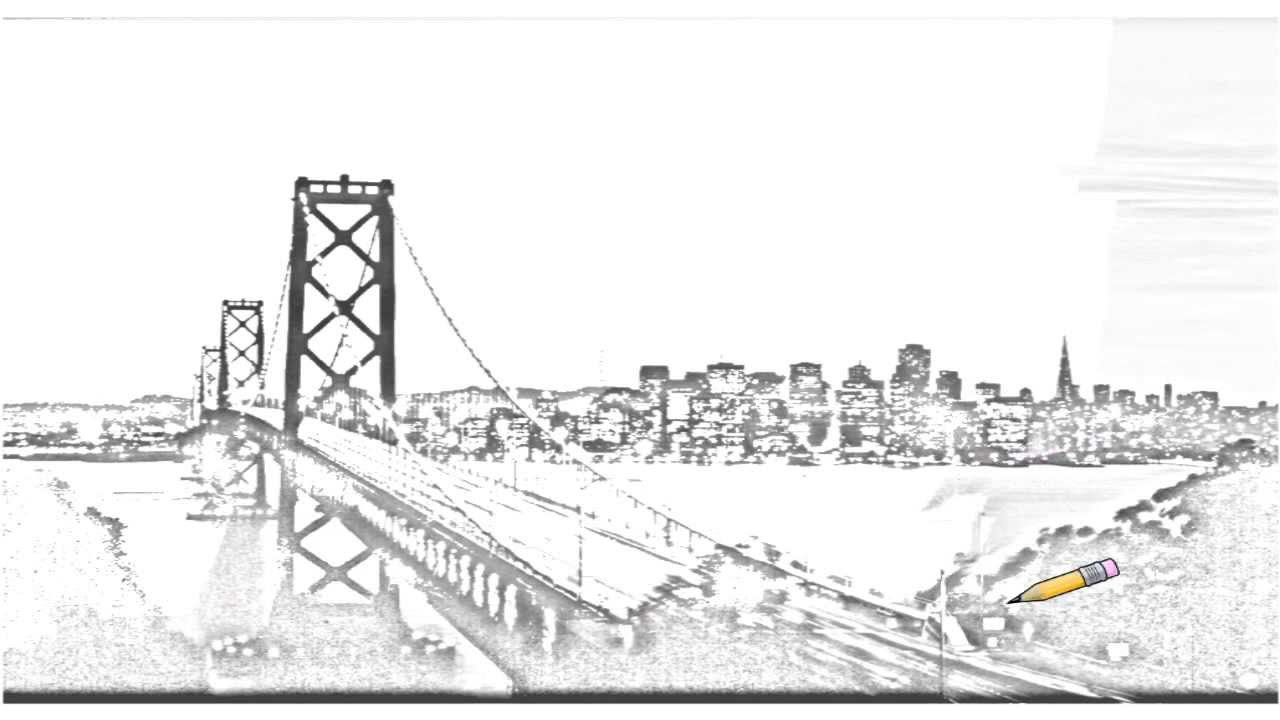 Auto Draw 2: Bay Bridge At Sunset, San Francisco