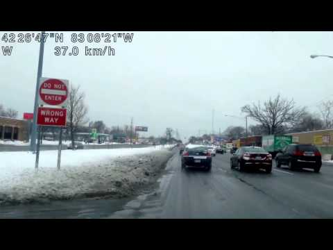 Sleet, Freezing Rain, Snow : Drive from Warren, Michigan to Dearborn, Michigan