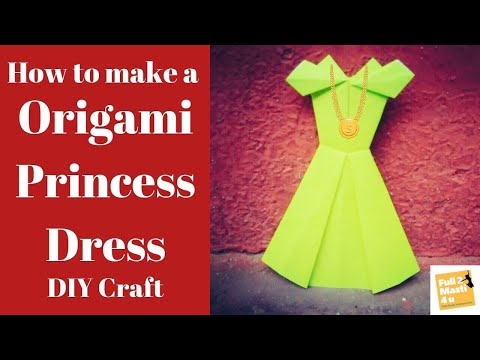 How to make paper frock/DIY Princess Dress/Paper Gown/Origami/Paper Dress/Tutorial/Craft/