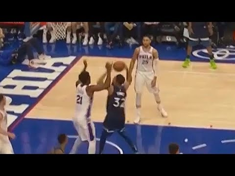 Joel Embiid Destroys Karl Anthony Towns with Amazing Block!
