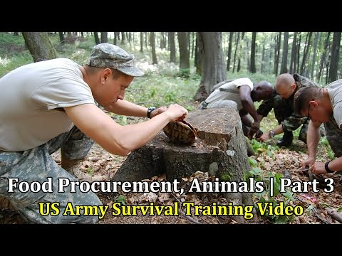 US Army Survival Training Video: Food Procurement, Animals |