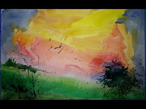 Very simple and Fast Watercolor Landscape Drawing for Beginners