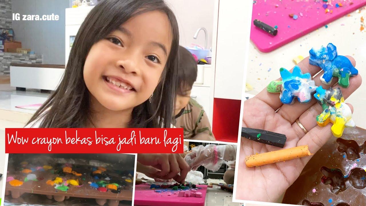 How to Make Rainbow Crayon   Zara Cute membuat Krayon Warna Warni dengan Krayon Bekas   Recycle